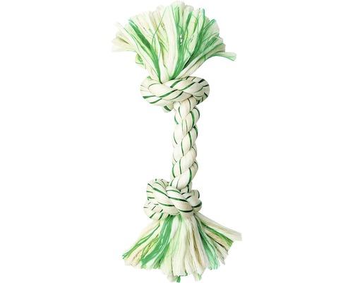 Hundleksak KARLIE bomullsknut för tandvård 26cm grön-vit