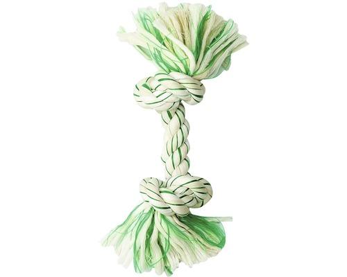 Hundleksak KARLIE bomullsknut för tandvård 20cm grön-vit