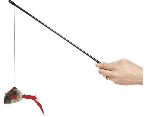 Kattleksak KARLIE spö mus med ljud svart-grå