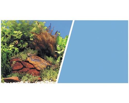 Akvariebakgrund FLUVAL 45cm växter med stenar/blå metervara