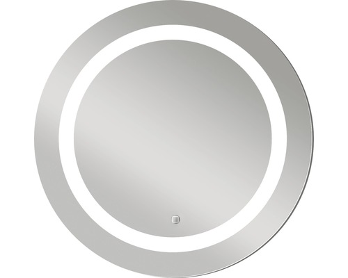 DSK LED-spegel Silver Sun aluminiumram Ø59 cm