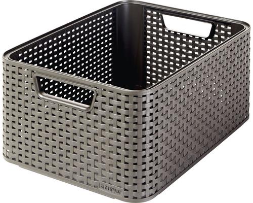 Förvaringsbox CURVER Style rottinglook mörkbrun 18 l