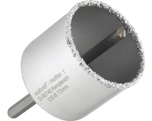 Hålsåg WOLFCRAFT hårdmetall Ø 73mm inkl. skaft och centrumborr