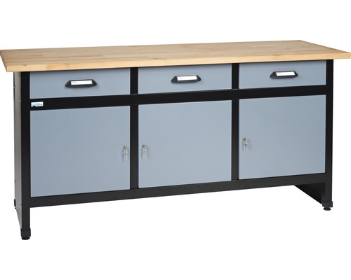 Verkstadsbänk KÜPPER med 3 lådor och 3 dörrar 1700mm silver/svart