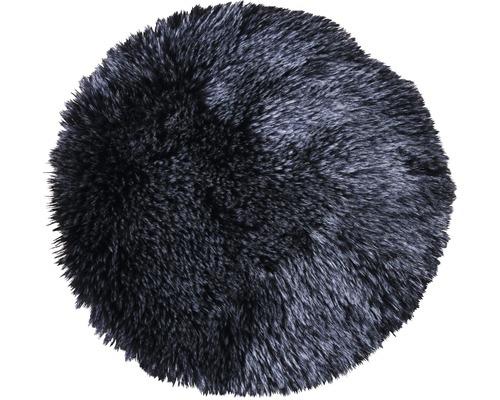 Stolsdyna SOLEVITO syntetpäls svart Ø 35cm